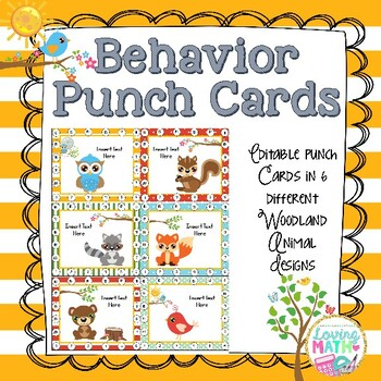 Behavior Punch Cards Editable (Woodland Animals)