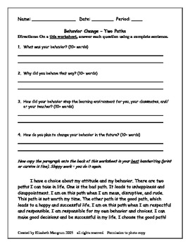 Behavior Reflection Paragraph worksheet