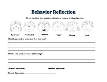 Behavior Reflection Worksheet Free Worksheets Library