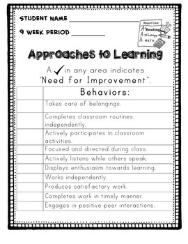 Behavior Report Card printable