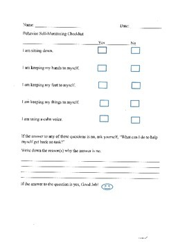 Behavior Self Monitoring Checklist