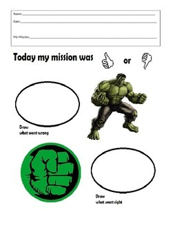 Behavior Sheet- Hulk - Think Sheet