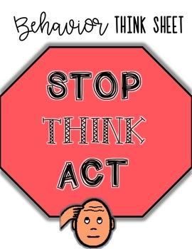 Behavior Think Sheet for Autism Classroom - VISUAL behavio