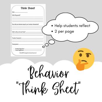 Behavior Think Sheet for Student Reflection