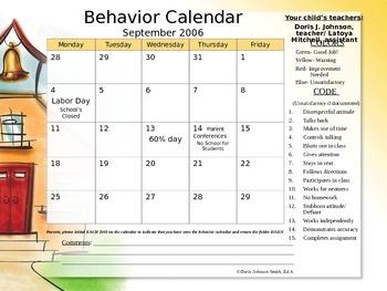 Behavior Tracking Calendar