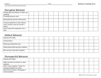 Behavior Tracking Form  (Disruptive, Defiant, Disrespectful)