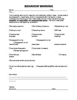 Behavior Warning Slip