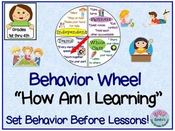 """Behavior Wheel """"How Am I Learning"""" for 1st through 4th Grade"""