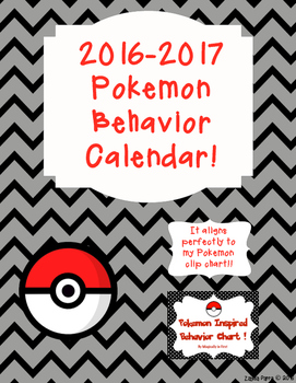 Behavior calendar 2016-2017 - Pokemon Go Inspired!!