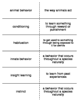 Behavior of Animals Vocabulary Flash Cards for Middle Scho
