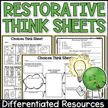 "Behavior or Choices ""Think Sheet"" for Upper Grades"