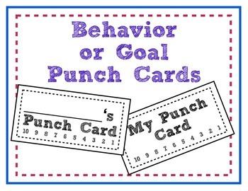Behavior or Goal Punch Cards