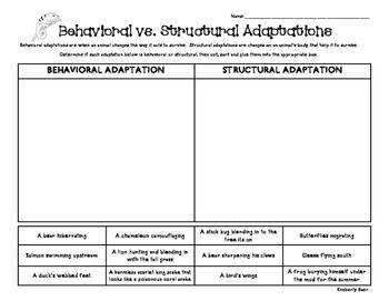 Behavioral vs. Structural Adaptations Sorting Worksheet