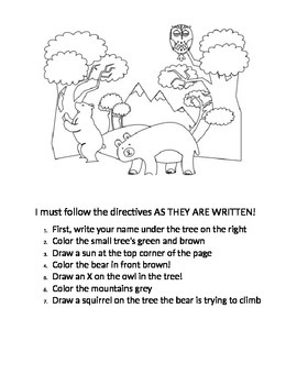 Behavioral worksheet for following directives