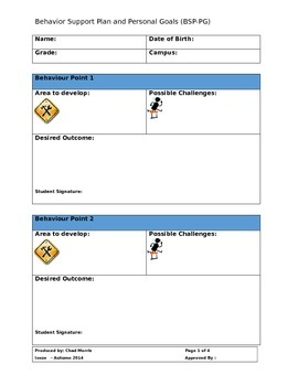 Behaviour Support Plan & Personal Goals