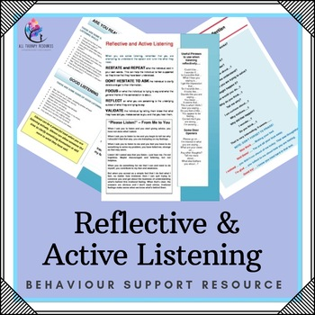 "Behaviour Support: Strategy – ""Reflective and Active Listening"""