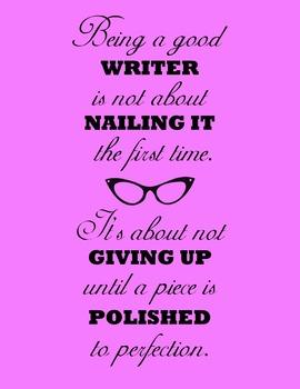 Being A Good Writer... 8.5 x 11 Classroom Poster