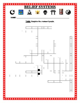 Belief Systems Vocabulary Crossword Puzzle