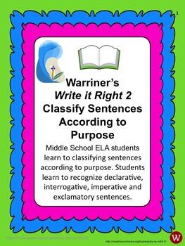Sentences--Classify According to Purpose: Warriner's Write