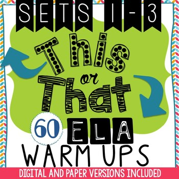 Bell Ringers - 60 Daily This or That ELA Warm-Ups - Choice