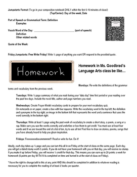 Bell Ringers Format and Daily Homework for Middle High School
