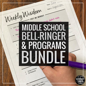 Bell-Ringers & Programs Bundle for MIDDLE School ELA {UPDATED}