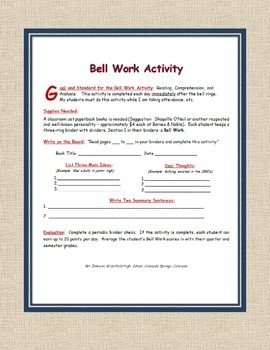"LEARNING ACTIVITY:  ""Bell Work Activity"""