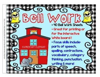 Bell Work BUNDLE for grades 3-4-5 Language Arts by Element