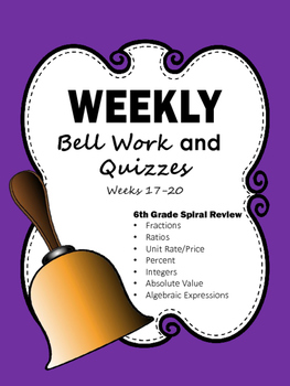 6th Grade Bell Work Weeks 17-20