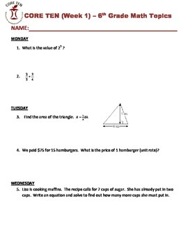 Bellwork - 6th Grade Math - Weeks 1-10