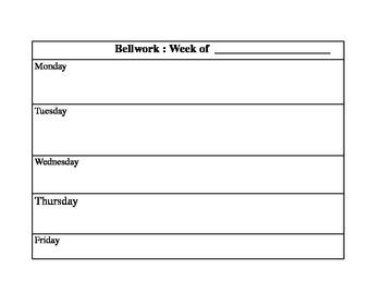 Bellwork Organizer