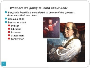 Ben Franklin PowerPoint - Part of Unit on Inventors - LOTS