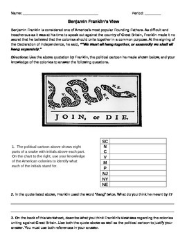 Ben Franklin Uniting the Colonies Worksheet- Common Core
