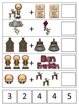 Ben Franklin themed Math Addition preschool printable math