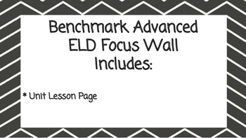 Benchmark Advanced Second Grade ELD Focus ALL UNITS!!!