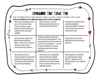 Benchmark Literacy 3rd Grade Spelling Unit 19 Tic Tac Toe