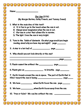 Benchmark Literacy: Extension for leveled reader Our Sun (I/16)