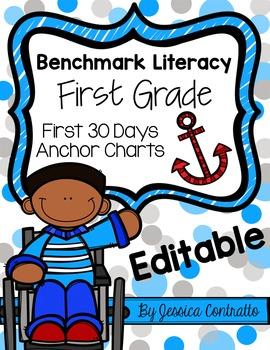 Benchmark Literacy: First 30 Days K-2 Anchor Charts {Editable}