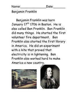 Benjamin Franklin Reading Comprehension