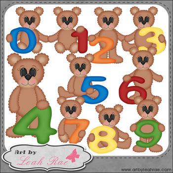 Benny Bear Learns Math Numbers 1 - Art by Leah Rae Clip Ar