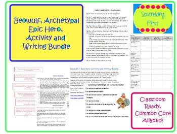 Beowulf Archetypal Epic Hero Discussion and Writing Bundle