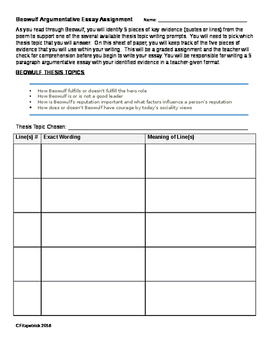 Beowulf argumentative essay topics with graphic organizer