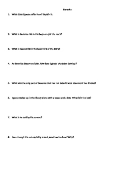 Berenice Comprehension Questions