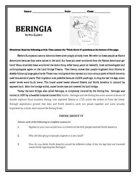 Early Inhabitants: Bering Land Bridge (Native Americans)