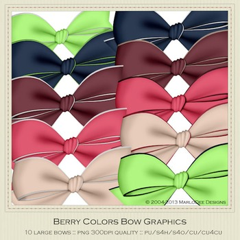 Berry Colors Digital Bow Graphics package 1