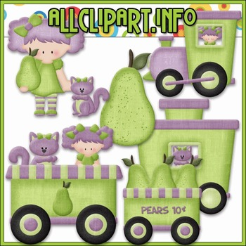 BUNDLED SET - Berry Sweet Choo Choo (Pear) Clip Art & Digi
