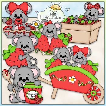 Berry Sweet Mice Clip Art - Mice With Strawberries Clip Ar