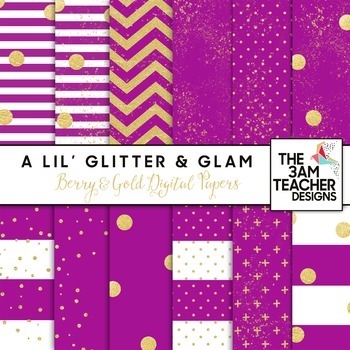 Berry and Gold Digital Papers Set