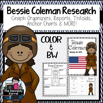 Bessie Coleman Biography Research Bundle {Report, Trifold,