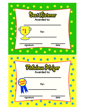 Best Listener Award & Fabulous Helper Award Colorful Printable